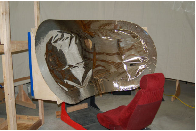 Mylar mirroring material affixed to the frame