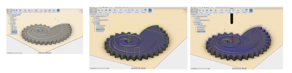 spiral gear as a 3d model, parallel toolpath and adaptive machinign toolpath in fusion360
