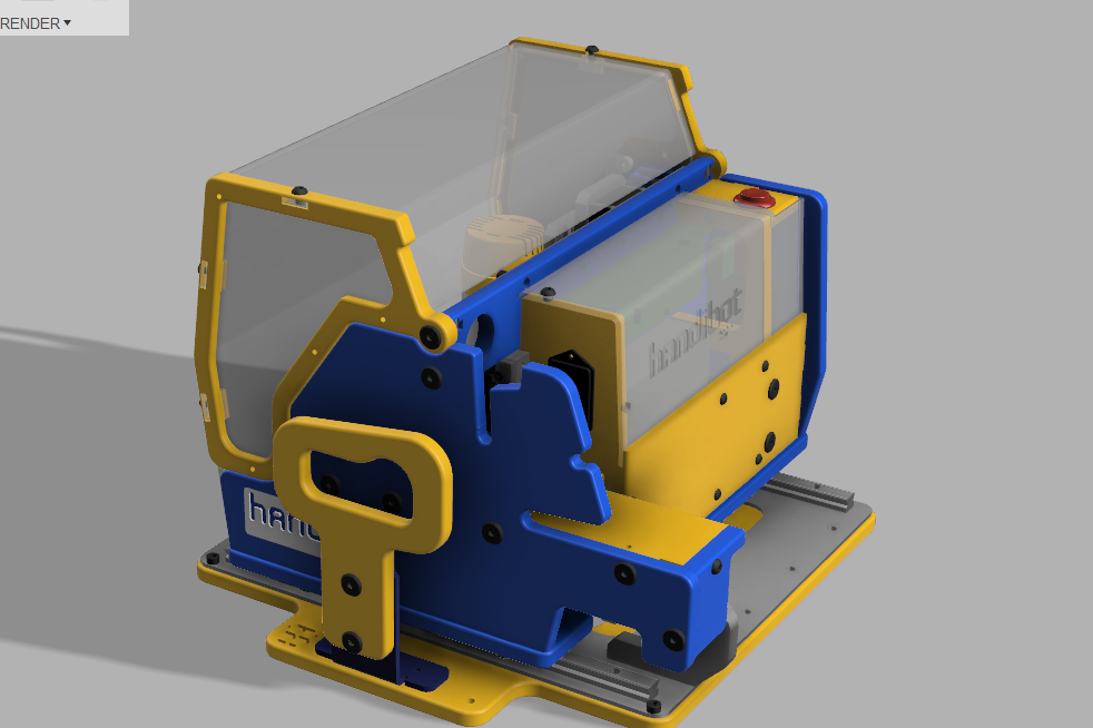 a new handibot rendered in quick fusion 360