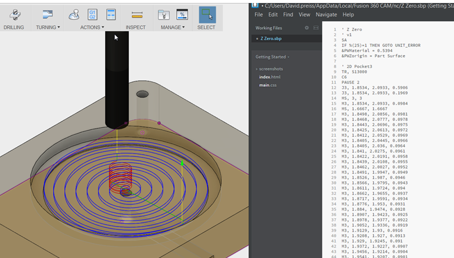 screenshot of projected spiral toolpath